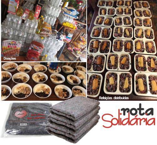 Produtos, refeições e cobertores doados pela Rota Solidária